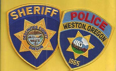 2 Oregon Shoulder Patches- Weston Police-Covered Wagon -Deschutes County Sheriff