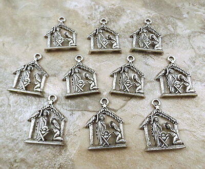 10 Pewter Nativity Scene Charms - 5140