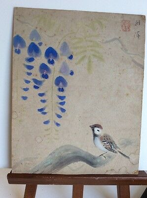 Antique, Signed, Oriental Watercolour painting, Bird, Flowers, Japanese, Chinese