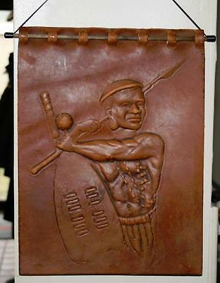 Vintage Embossed Leather African Wall Hanging: Tribal Man with Spear