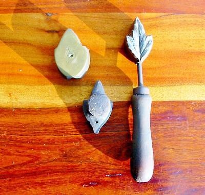 Rare Vintage Millinery Leaf Flower Iron Tool Mold Brass Antique Set Cutter #7