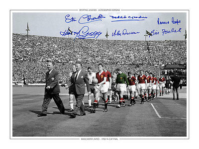 HAND SIGNED 16x12 PHOTO EDITION MAN UNITED 1958 FA CUP FINAL