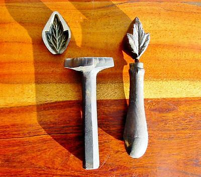 Rare Vintage Millinery Leaf Flower Iron Tool Mold Brass Antique Set Cutter #8