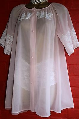 VTG 50s Sexy Pink Sheer Double Layered LORRAINE Lace Bust & Sleeves Robe Gown sS