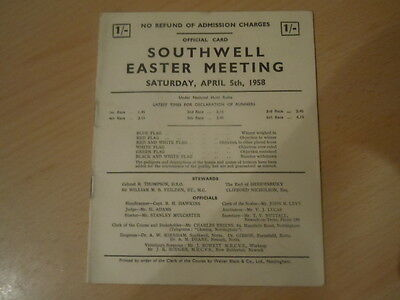 Race Card from Southwell Races April 5th 1958