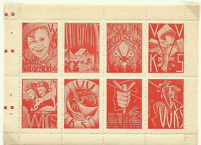 1939 Belgium Sheet Of Eight Red Boy Scout Labels / Seals
