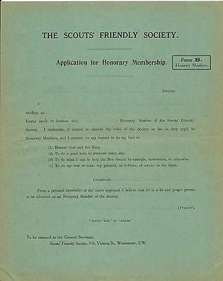 """1920's? THE BOY SCOUTS FRIENDLY SOCIETY APPLICATION FOR HONORARY MEMBERSHIP """"B"""""""