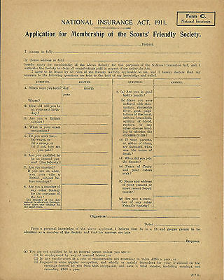 1920's? THE BOY SCOUTS FRIENDLY SOCIETY APPLICATION FOR MEMBERSHIP FORM C BROWN