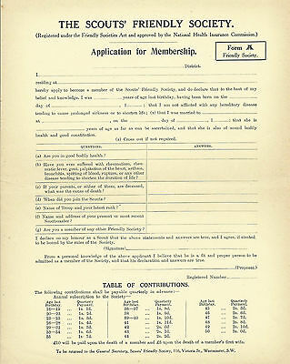 1920's? THE BOY SCOUTS FRIENDLY SOCIETY APPLICATION FOR MEMBERSHIP FORM A -BEIGE