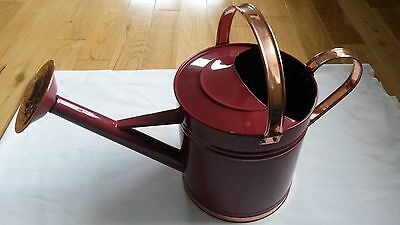 New Unused 6 Litre Metal Burgundy Red Copper Colour Indoor Outdoor Watering Can