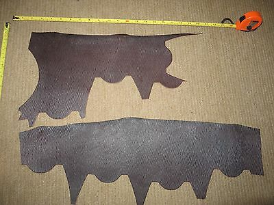 2 PIECES   DARK BROWN EMBOSSED  VEG TAN   LEATHER OFF CUTS   2.8mm  THICK
