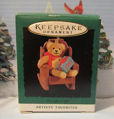 Grandpa's Gift 1995 MIB Hallmark Miniature Christmas Ornament Artists' Favorites