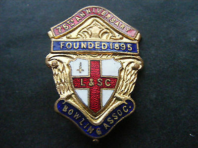 VINTAGE LONDON & SOUTHERN COUNTIES BOWLING ASSOCIATION 75th ANNIVERSARY BADGE