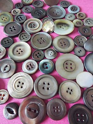 50 Mixed Vintage/Old Dark Mother of Pearl Buttons
