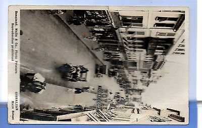 SUPER 1912c HORSE & CARTS MAIN STRRET GIBRALTAR LOCAL RP PHOTO POSTCARD