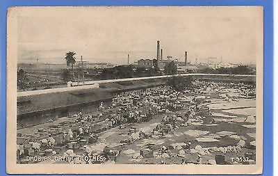SUPERB 1920c DHOBIES DYING COTHES INDIA CALCUTTA VINTAGE POSTCARD