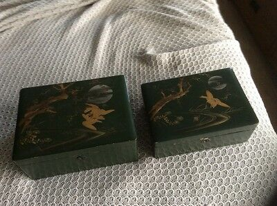 2 vintage Chinese/Japanese l green laquered boxes with gold decor