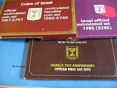 Coins Of Israel 3 Sets Of Uncirculated 1979 1985 (5745) 1988 (5748) Box Papers