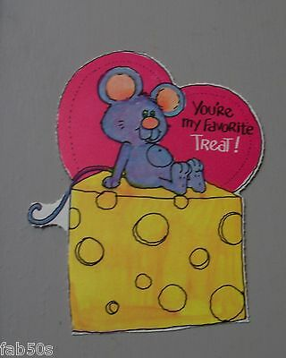 Vtg Valentine Card 70's 80's Mouse Wedge of Cheese Your My Favorite Treat UNUSED