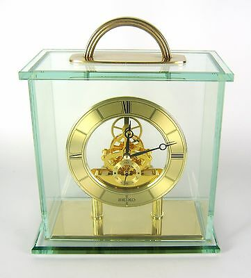 Seiko Tischuhr / Skelettuhr mit Glassturz Japan Table Clock Luxury RARE