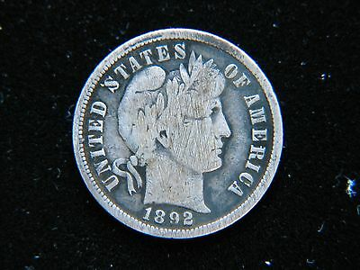 1892-S 10C Barber Dime Rare Key Date Full Liberty Shows Scratched