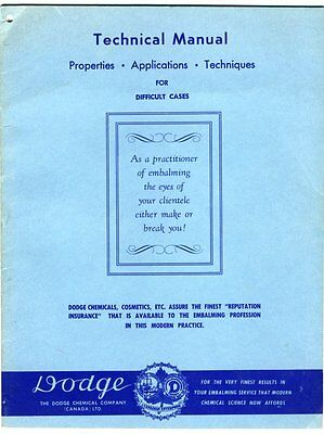 DODGE CHEMICAL CO PROPERTIES APPLICATIONS TECHNIQUES Embalming Cosmetics 1960s