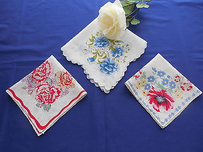 Lot of 3 Vintage Hand Embroidered Hankies