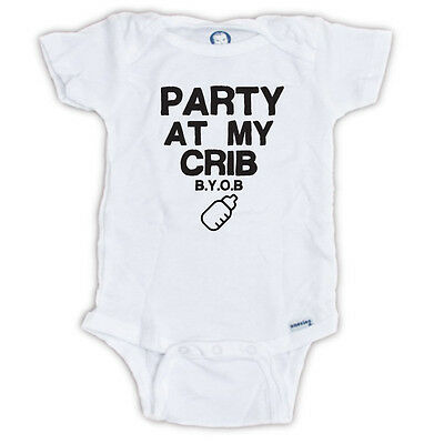 PARTY AT MY CRIB BYOB  Gerber Onesie® Baby SHIRT INFANT SHOWER APPAREL FUNNY