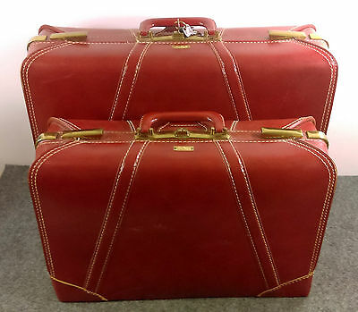 Vintage AIR-PAK Luggage Suitcase Set/2 Leather Cover w/Keys Clean & Usable