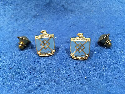 Lot of 2 1970's Vintage US Navy USS Eaton DD-510 Pins