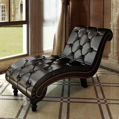 New Leather Chaise Lounge Chesterfield Brown Retro Sofa Bed Recliner Chair Seat