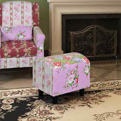 New Padded Foot Stool Patchwork Hocker Ottoman Chair Side End Seat Bench Sofa