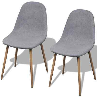 S# 2 Light Grey Fabric Upholstery Dining Chairs Iron Legs Kitchen Cafe Furniture