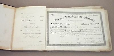 Syracuse, Ny 1895 Sweet's Manufacturing Steel Company Stock Certificate Book