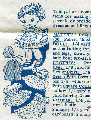 "VTG 50s ALICE BROOKS MAIL ORDER 9"" DOLL & Clothes PATTERN"