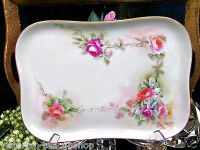 Limoges France Hand Painted Platter Floral Vanity Tray With Roses Pattern