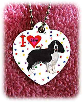English Springer Spaniel Dog heart necklace background of hearts