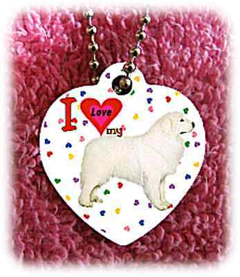 Great Pyrenees Dog heart necklace background of hearts