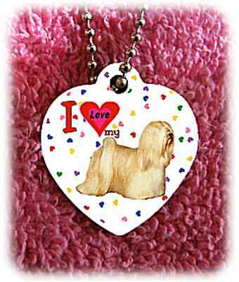 "Lhasa Apso Dog heart necklace 24"" chain background of hearts"