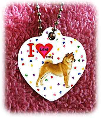 """Shiba Inu Dog heart necklace 24"""" chain background of hearts"""