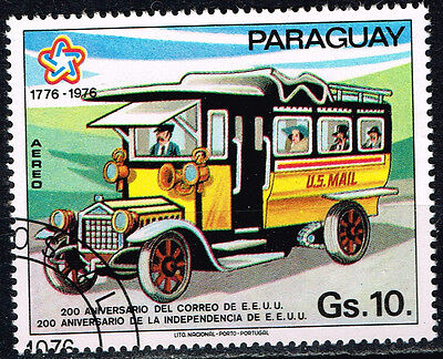 Paraguay old US Mail Truck stamp 1976