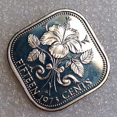 Bahamas 15 Cents 1973 Great PROOF Coin Copper-Nickel  #0000