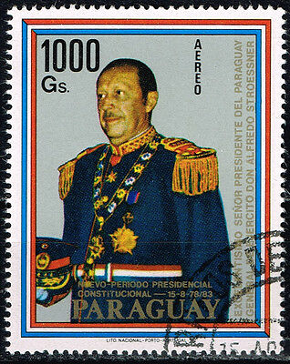 Paraguay Military Leader Dictator Alfredo Stroessner Airmail stamp 1983 CV $18
