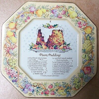 """Vintage Avon 1982 Hospitality Tin Recipe Plate """"Plum Pudding"""" Made in England"""