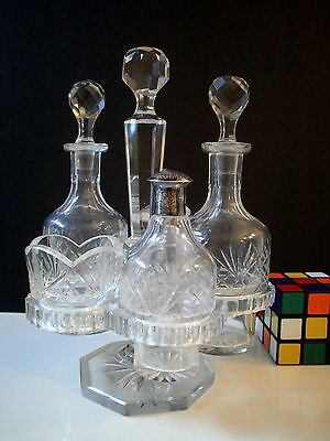 Antique English or American Cut Crystal Cruet Condiment set crystal glass stand