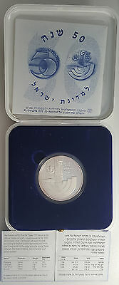"1998 Israel 999 Silver Proof Large Medal 60g Only 7,500 Issued ""Israel 50"" GEM"