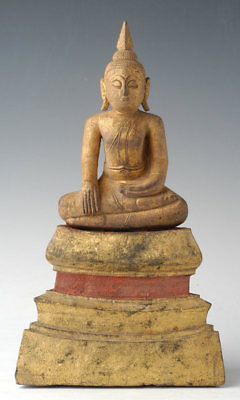 19th Century, Rattanakosin, Antique Thai Wooden Seated Buddha