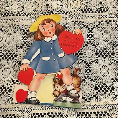 Vintage Greeting Card Valentine Cute Girl Cat Scale