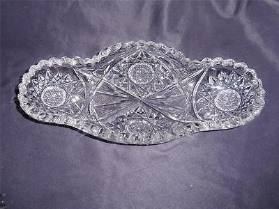 ABP Brilliant Cut Glass Crystal Ice Cream Dish Hobstars Flashed Fan Pattern