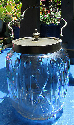 Stunning Vintage Cut Glass & Epns Biscuit Barrel